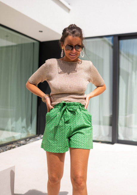 Green Kenia shorts with patterns