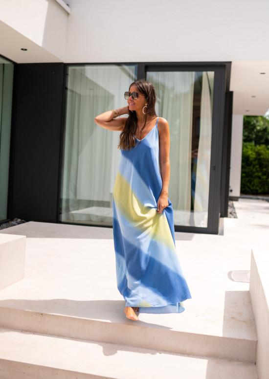 Robe Jersay bleue et jaune