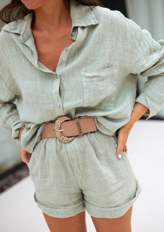 Khaki Irini linen shorts