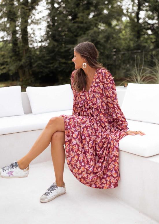 Robe Serena bordeau à motifs - CREATION
