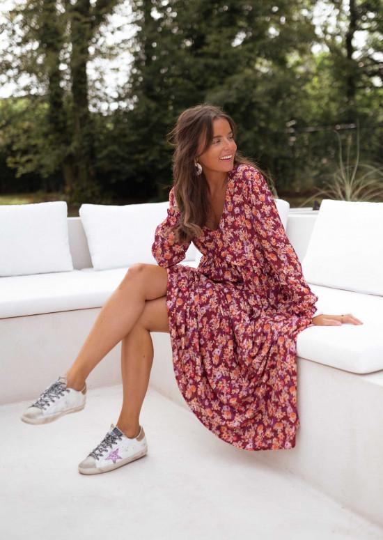 Patterned Serena burgundy dress - CREATION