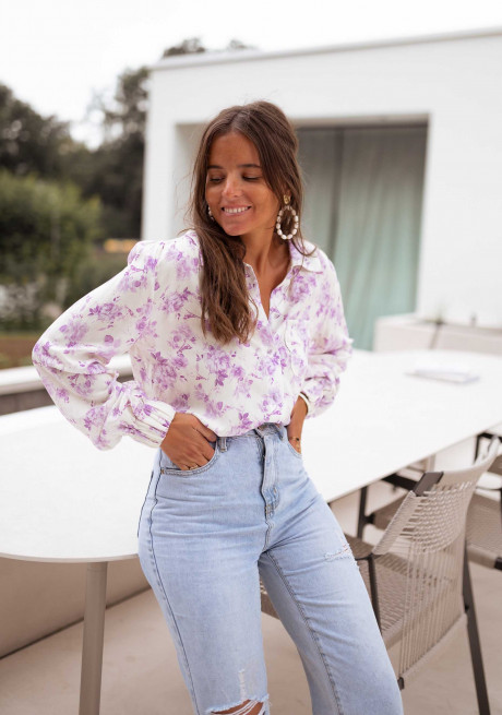 Purple Abel shirt with flowers - CREATION