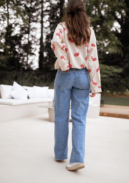 Chemise Celso beige à motifs rouge