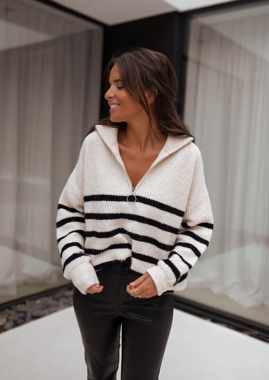 Ecru striped Lelio sweater