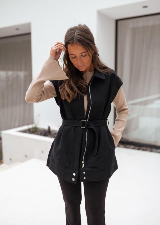 Sleeveless black Eugene jacket