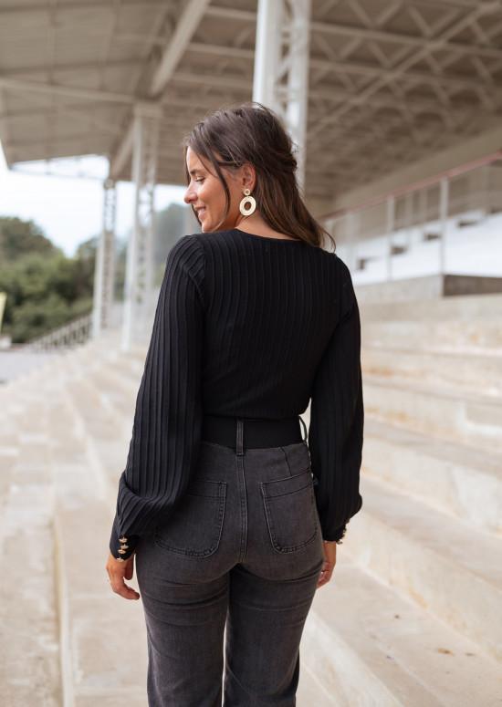 Black Denya wrap sweater