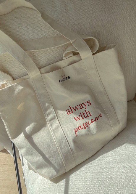"""Tote bag """" Always with passion"""""""