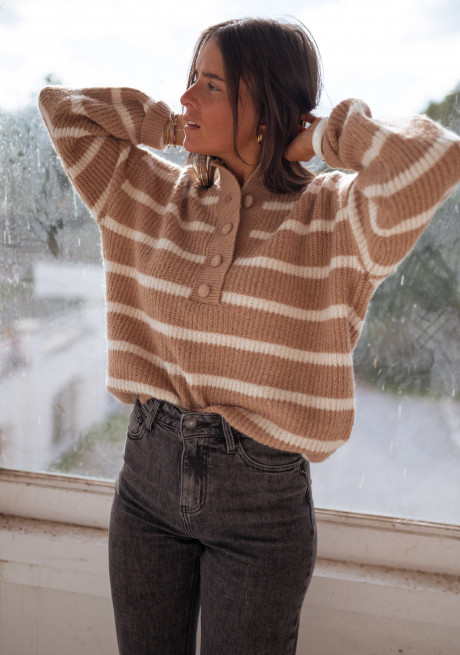 Camel Daly striped sweater
