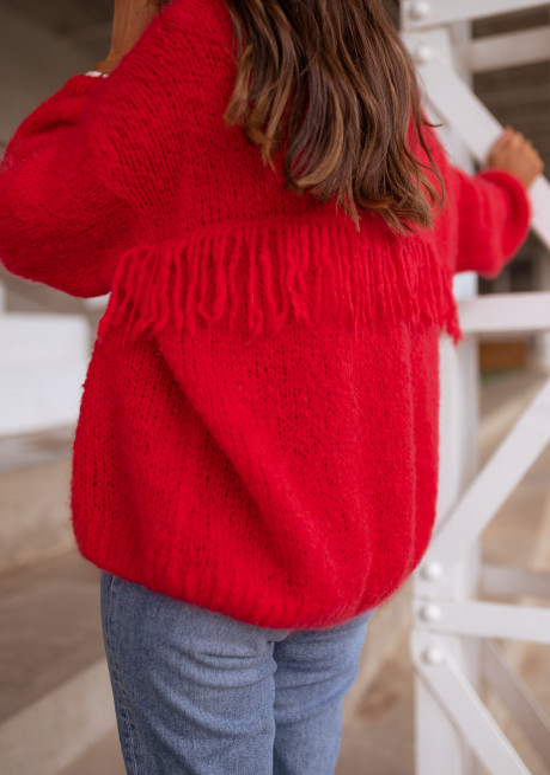 Red Darius cardigan with fringe