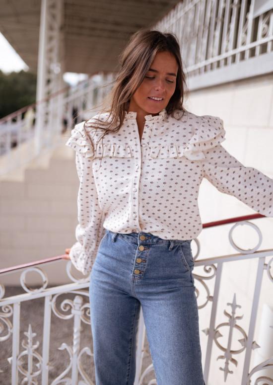 Ecru Mory shirt with tiny flowers