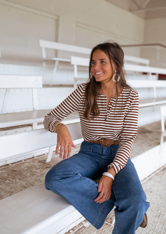 Camel Fady striped t-shirt