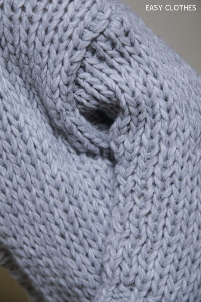 Gilet grosse maille gris clair