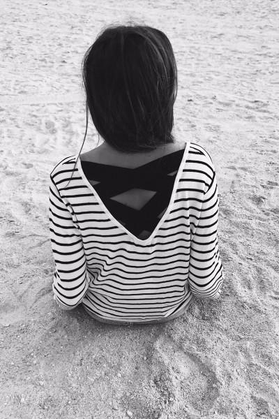 Pull fin Anna à lignes blanc et noir