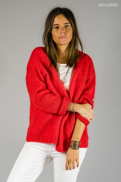 Red Cardigan Easy Clothes