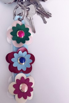 Blue Keyring with flowers
