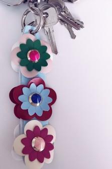 Porte clefs à fleurs bleu